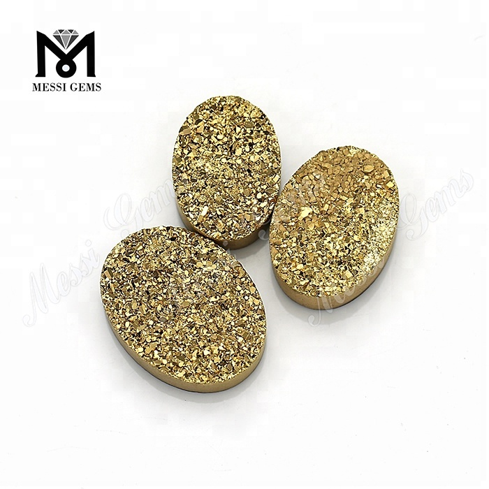 Oval Natural Druzy Cabochon Stone Wholesale 24K Gold Druzy