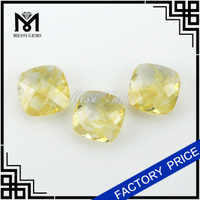6 x 6 mm Cushion Cut Gold Rutilated Quartz Glass Gemstone