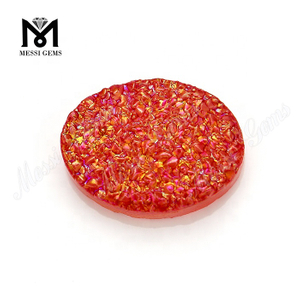 Factory Price Red Color Oval Shape Natural Druzy Agate Cabochon Stone