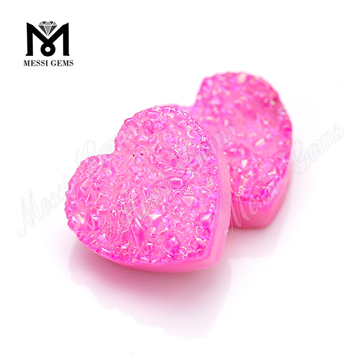 Pink Color Heart Shape Natural Druzy Stone