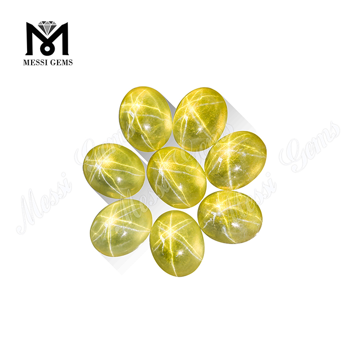 Factory Price Synthetic Sapphire Star Stone Oval Cabochon Yellow Sapphire