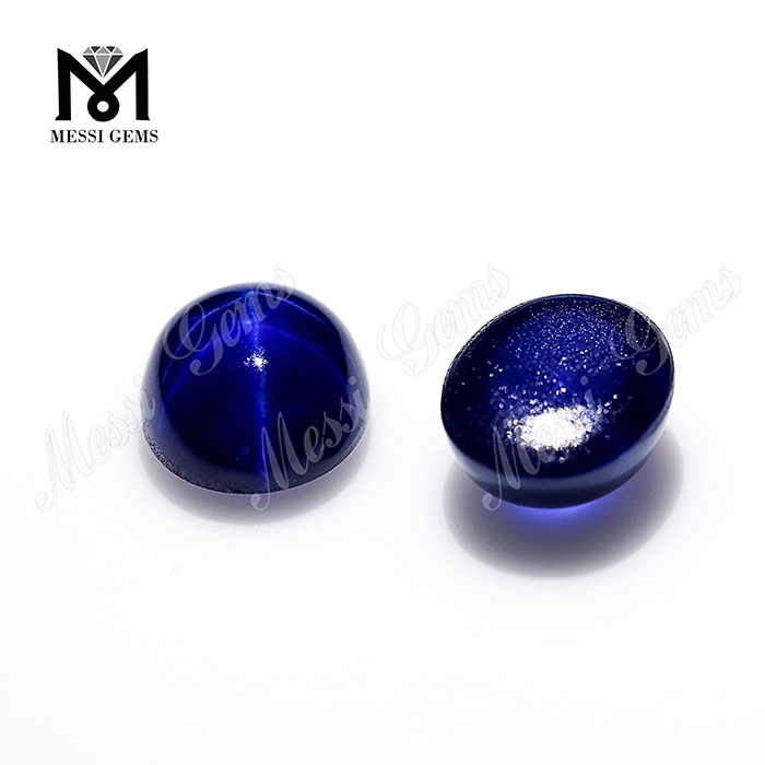 Wuzhou wholesale price synthetic blue star sapphire oval stone