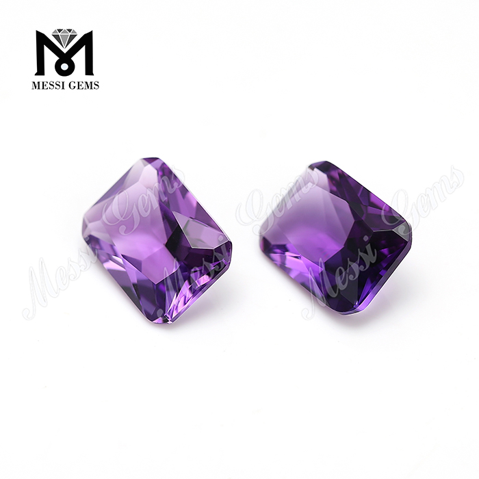 Loose Synthetic Gemstone 10x14mm Radiant Cut Hydrothermal Amethyst