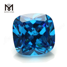 Loose CZ Stone Cushion Cut 10 x 10 mm Blue Topaz Color Cubic Zirconia Stone