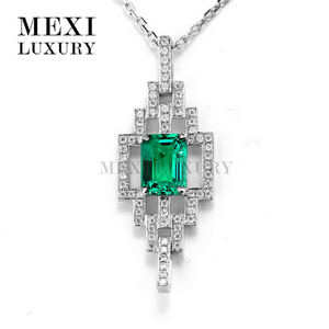 14K 18k white gold emerald chain pendant necklace bridal jewelry set