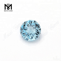 Flower Cut Fancy Cutting Round Shape 14.0mm Aquamarine Gemstones Price