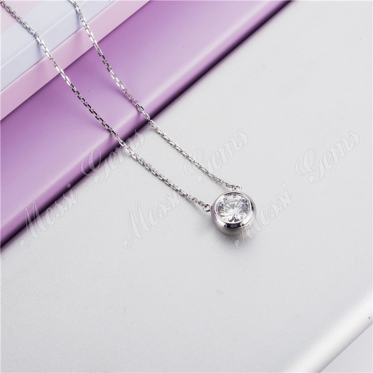 14K 18k white gold emerald chain pendant necklace bridal jewelry