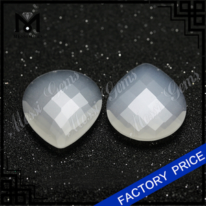 white loose jade stones pear checker cut wholesale jade price
