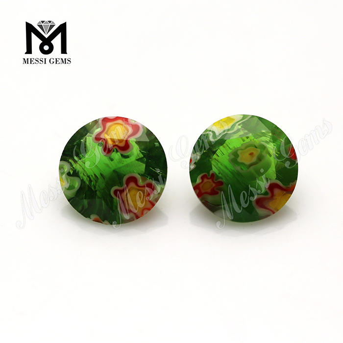 Wuzhou Machine Cut Round Colored Glass Gems