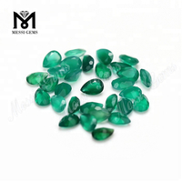 Wholesale pear cut 4*6mm natural green agate stone