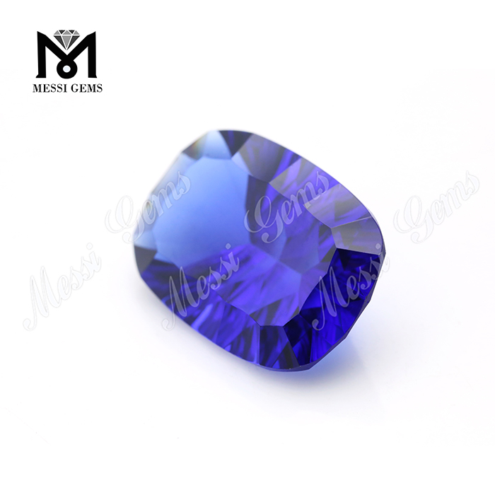 Synthetic Russ 13x18MM Blue Sapphire Concave Cut Glass