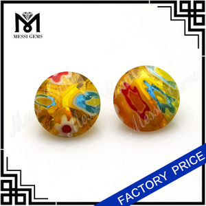 Millefiori 8mm round faceted glass gemstone
