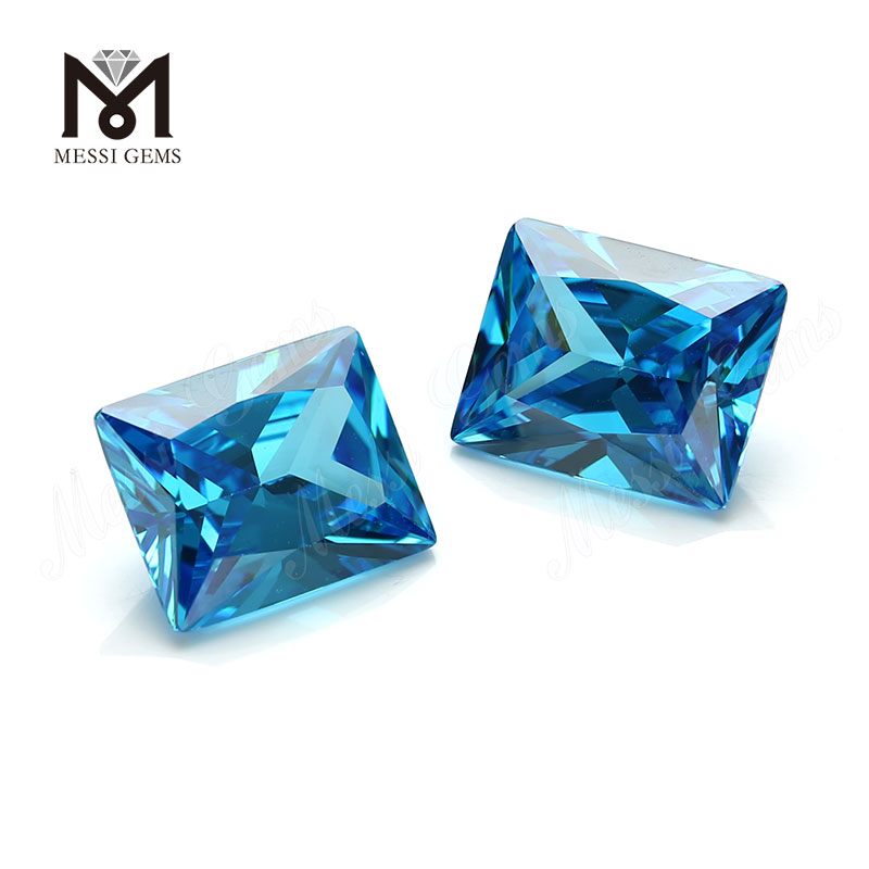 9x11mm baguette cut lab made aquamarine cz stones for sale