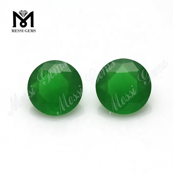 Wholesale Machine Cut Round 7.0mm Emerald Green Loose Gemstone Bead for Jewelry