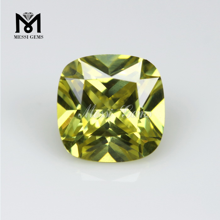 wholesale 5 x 5 mm cushion cut peridot cubic zirconia stone