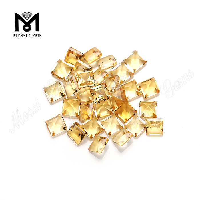5x5mm square shape citrine natural quartz loose stones from stock