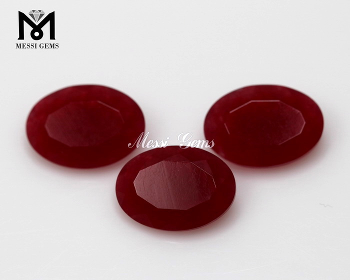 Oval 10 X 14 MM Loose Gemstone China Red Jade
