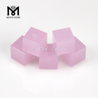 Cube shape pink color glass stone