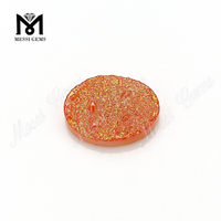 Oval Shape Orange Color Natural Druzy Agate Gemstones