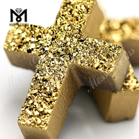 High quality druzy agate beads 24k gold cross stone druzy stone