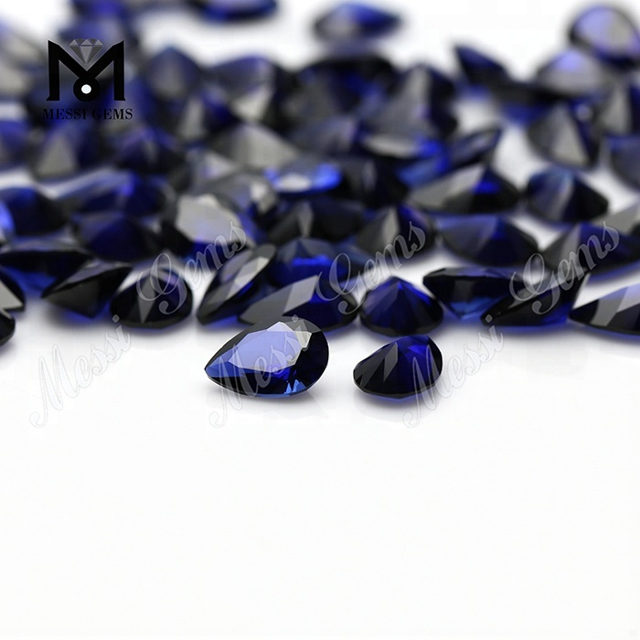 Wholesale Price Pear Cut 7 x 10mm 34# Blue Sapphire Synthetic Corundum Stone