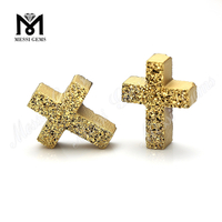Factory Price 24K Gold Cross Shape Natural Druzy Stone