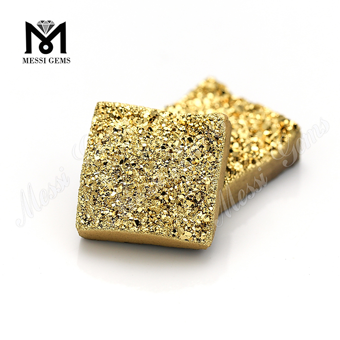 14mm wholesale geode drusy 24K gold square shape druzy