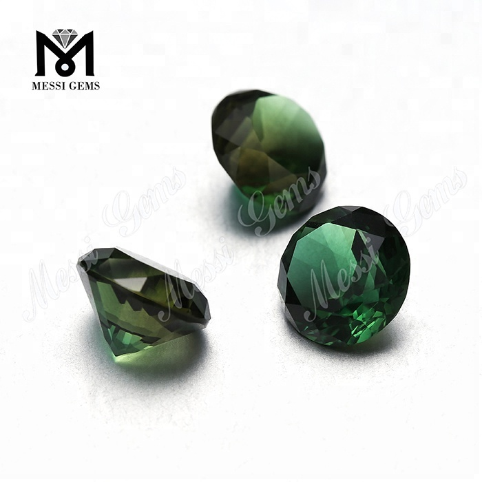 Hydrothermal synthetic round 10mm green quartz stone