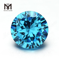 Wuzhou Factory Price 8.0mm Round Aquamamrine Cubic Zirconia For Jewelry