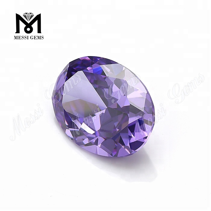 Wholesale CZ Oval Lavender Color Diamond Cut Cubic Zirconia Gemstone
