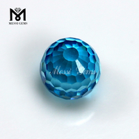 Wholesale Price Zircon Stone Aqua Blue 12mm Round Faceted Cubic Zirconia