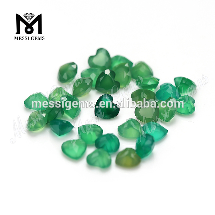 Heart cut 6x6mm green agate stone price