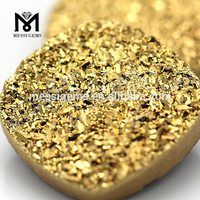 Cushion shape gold plating colored druzy agate stone