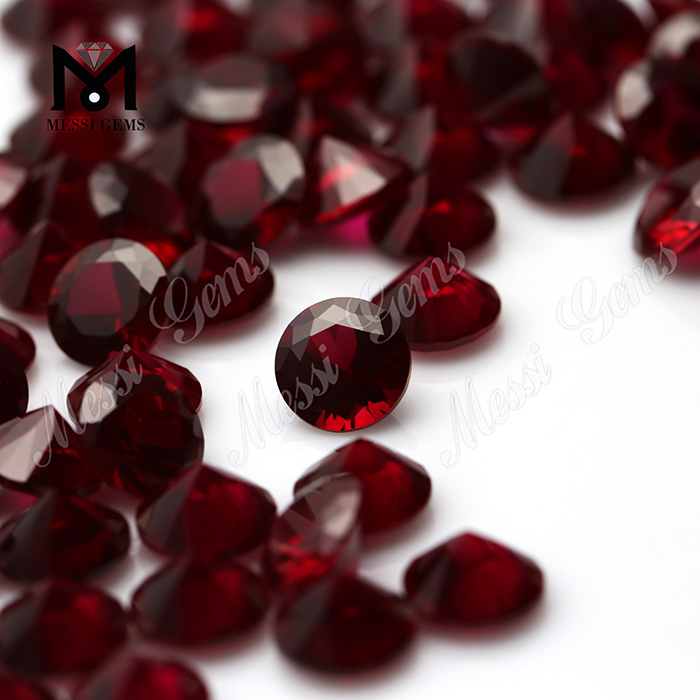 2mm round brilliant cut synthetic ruby stone loose 8# red ruby