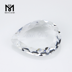 Wholesale Pear Cut 18 x 25mm Clear White Glass Stone Gems