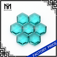 Green crystal glass gems stone hexagon shape glass gemstone