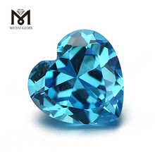 Loose Wholesale Heart Cut 10x10mm Aqua Cubic Zirconia Stone
