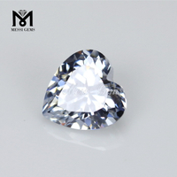 wuzhou factory price heart cut loose stones white cz gemstones
