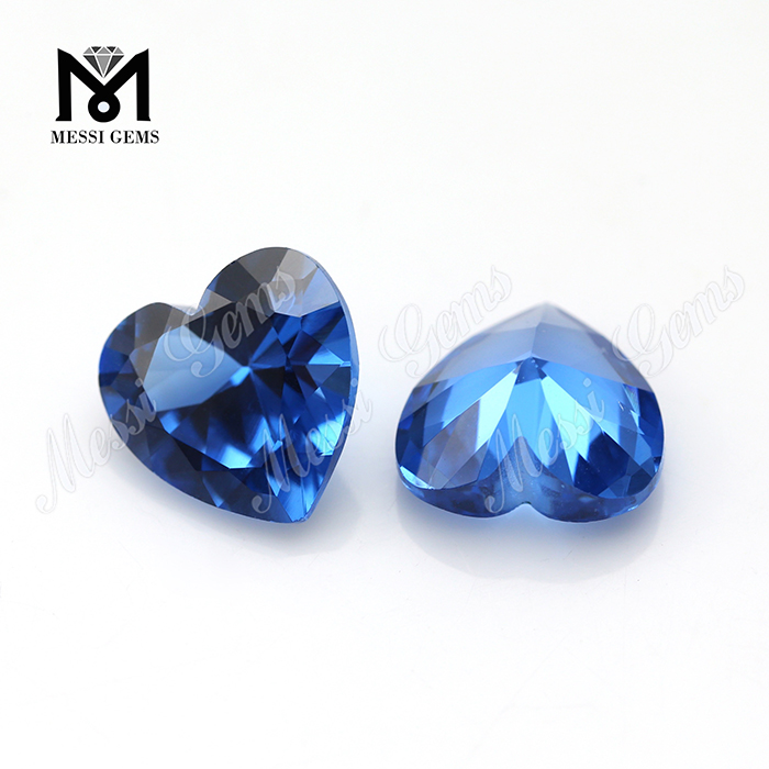 10x10mm heart cut 119# blue synthetic spinel gemstone