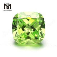 Factory Price Loose Cushion Cut 10 x 10 mm Green Apple Color Cubic Zirconia Stone