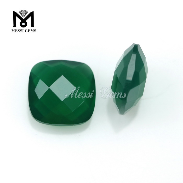 top quality cushion green agate stone price for jewelry