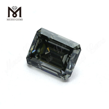 Factory price 10x8mm emerald cut dark gray moissanite loose for ring