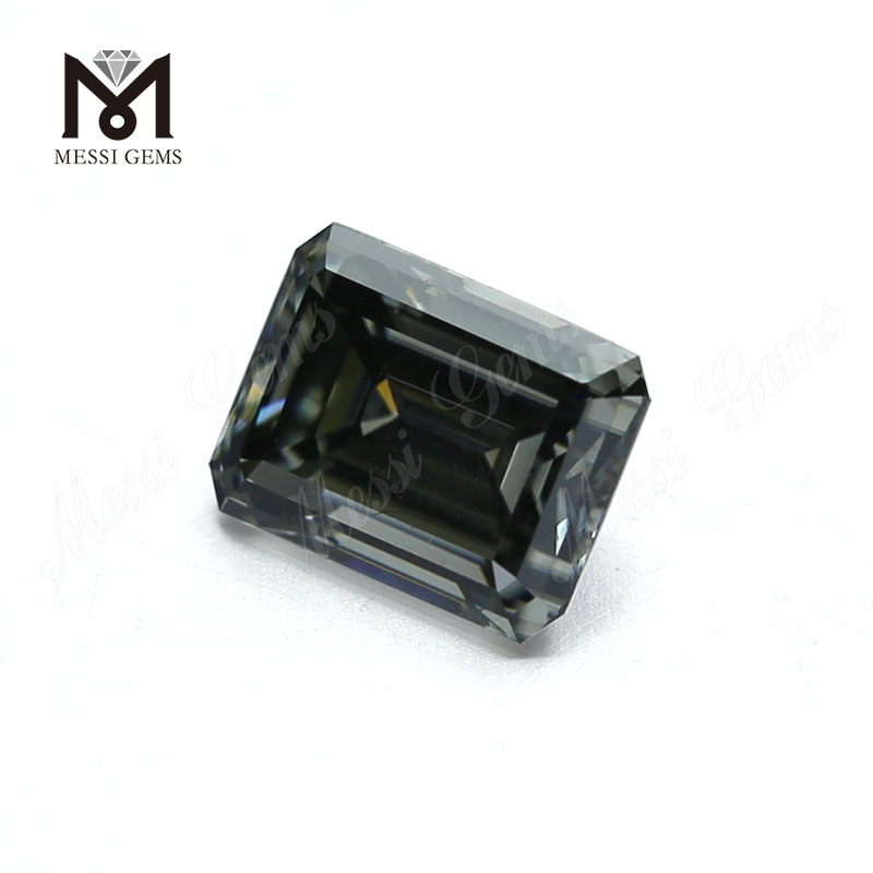 Factory price 10x8mm emerald cut dark gray moissanite diamond loose for ring