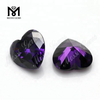 Factory 12x12mm Heart shape Amethyst cubic zirconia stone