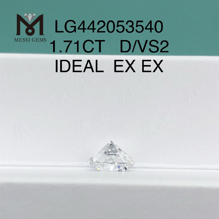 1.71 carat D VS2 Round lab grown diamond IDEAL