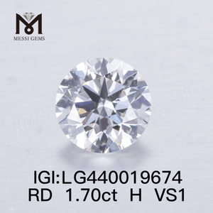 1.70 carat H VS1 IDEAL Round lab grown diamond