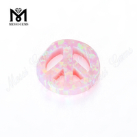 peace shape gemstones shape pink color cabochon synthetic opal stones