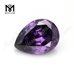 Large size pear shape 15x20mm amethyst synthetic cubic zirconia price