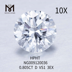 0.805carat D VS1 round loose lab created diamond 3EX