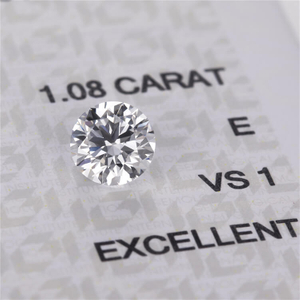 Round brilliant cut 1.08 carat vvs E white VS1 hpht cvd lab diamond with factory price